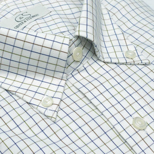 The Addison - Wrinkle-Free Windowpane Plaid Cotton Dress Shirt with Button-Down Collar in Multi by Cooper & Stewart