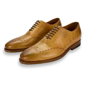 Savannah Wholecut Oxford Shoe with Perf Detailing in Saddle Tan by Armin Oehler