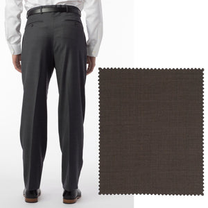 Sharkskin Super 120s Worsted Wool Comfort-EZE Trouser in Chestnut (Manchester Pleated Model) by Ballin