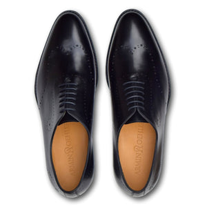 Savannah Wholecut Lace-Up Shoe with Perf Detailing in Charcoal Black by Armin Oehler