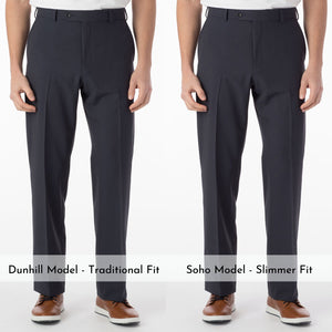 Comfort-EZE Commuter Bi-Stretch Gabardine Trouser in Blue Mix (Flat Front Models) by Ballin