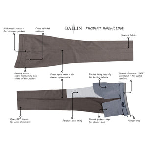 Super 120s Wool Travel Twill Comfort-EZE Trouser in Saddle (Flat Front Models) by Ballin