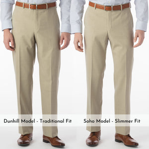 Super 120s Wool Travel Twill Comfort-EZE Trouser in Sand (Flat Front Models) by Ballin