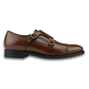 Charleston Double Monk Strap Shoe in Cognac Brown by Armin Oehler