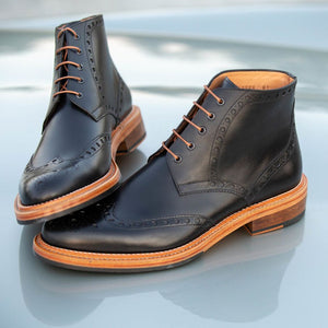 Boston Double Stitched Welt Boot in Black by Armin Oehler