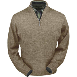 Royal Alpaca Half-Zip Mock Neck Sweater in Tan Heather by Peru Unlimited