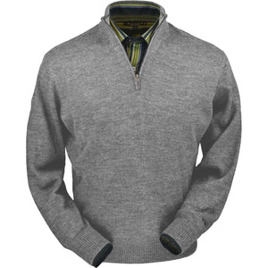 Royal Alpaca Half-Zip Mock Neck Sweater in Silver Grey Heather by Peru Unlimited