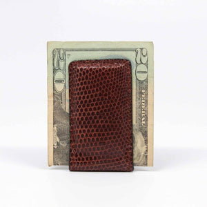 Genuine Ringmark Lizard Magnetic Money Clip in Brown by Torino Leather
