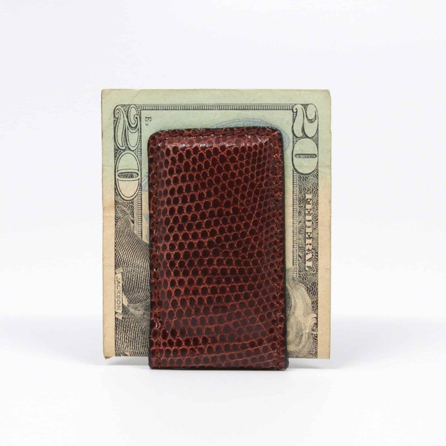 Genuine Lizard Magnetic Money Clip in Brown by Torino Leather