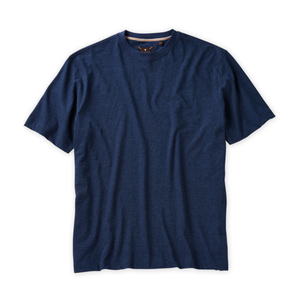 Melange Crew Neck Peruvian Cotton Tee Shirt in Navy Mélange by Left Coast Tee