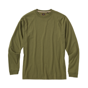 Long Sleeve Crew Neck Peruvian Cotton Tee Shirt in Olive by Left Coast Tee