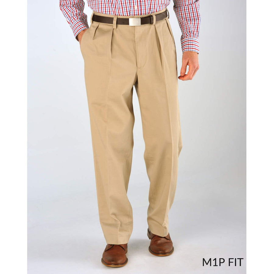 M1P Pleated Relaxed Fit Vintage Twills in British Khaki by Bills Khakis