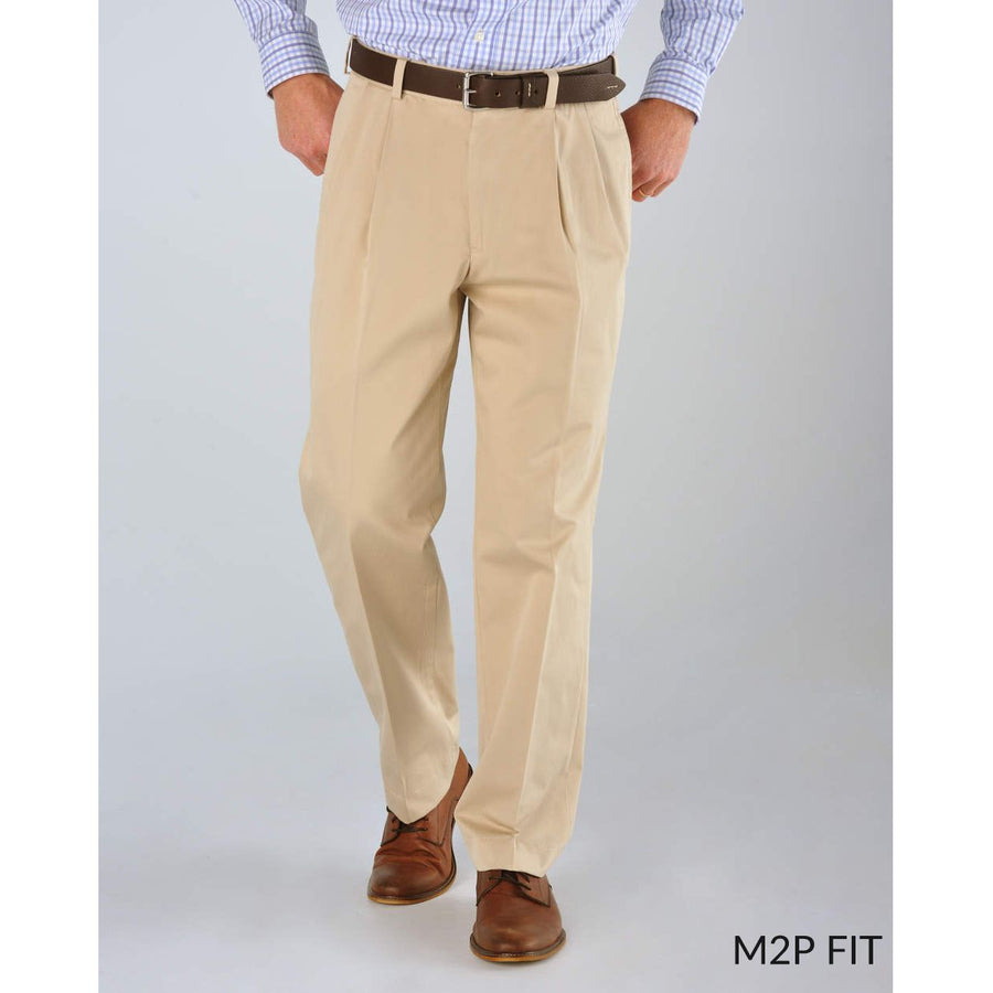 M2P Pleated Classic Fit Chamois Cloth Pants in Black by Bills Khakis
