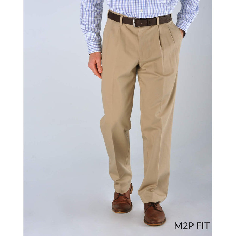 M2P Pleated Classic Fit Montgomery Stretch Twills in Khaki by Bills Khakis