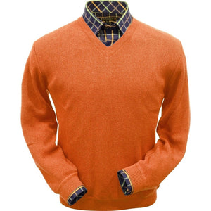 Baby Alpaca 'Links Stitch' V-Neck Sweater in Orange by Peru Unlimited