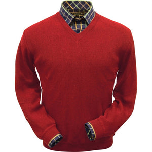 Baby Alpaca 'Links Stitch' V-Neck Sweater in Rouge Red by Peru Unlimited