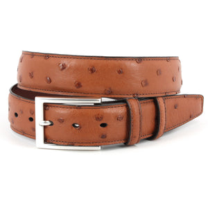 Genuine South African Ostrich Belt in Saddle by Torino Leather