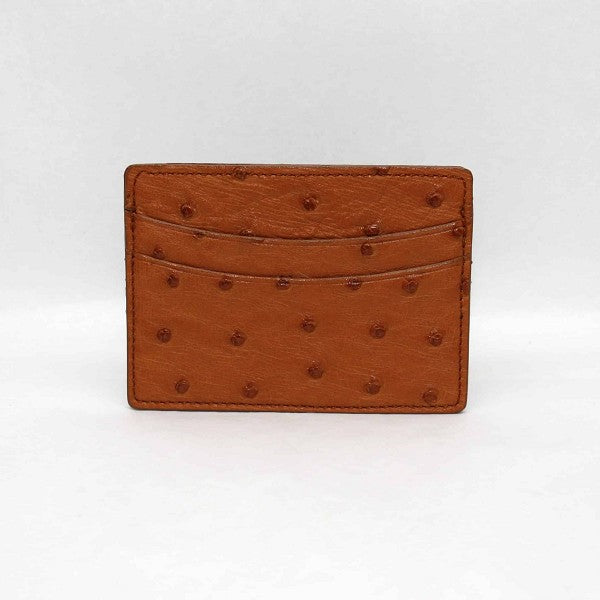 Genuine Ostrich Cardcase in Saddle by Torino Leather