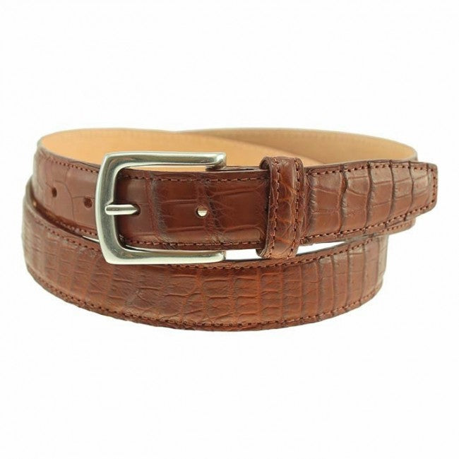 Torrence Alligator Dress Belt in Cognac by T.B. Phelps