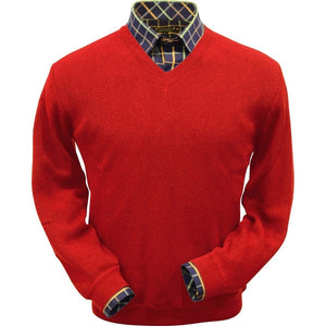 Baby Alpaca 'Links Stitch' V-Neck Sweater in Wisconsin Red by Peru Unlimited