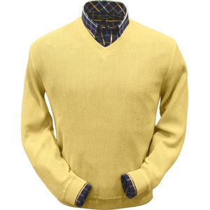 Baby Alpaca 'Links Stitch' V-Neck Sweater in Yellow by Peru Unlimited