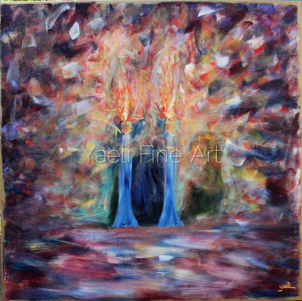 Shabbos Candles to Heaven (SOLD) - Judaic Art