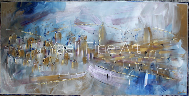 Jerusalem Painting: Yerushalayim in Blue
