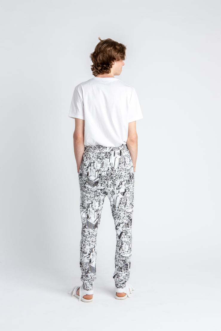 Track Trousers Urban Print White
