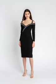 Interlock V-Neck Dress Black