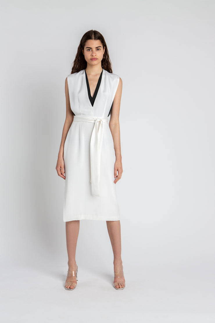 V-neck Dress White
