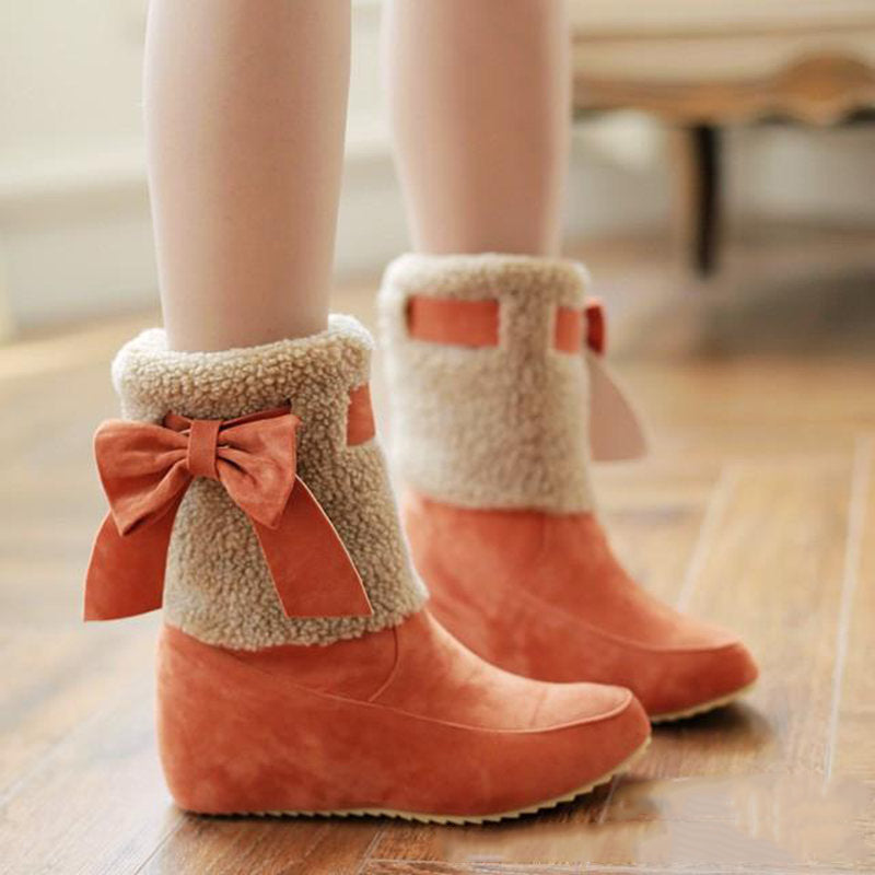 Cute Bow Colouring Mid Tube Boots