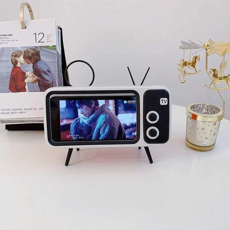 RETRO TV BLUETOOTH SPEAKER MOBILE PHONE HOLDER-BUY TWO FREE SHIPPING!