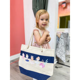 Dancing Friends Navy Striped Tote