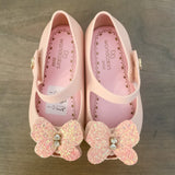 Jelly Shoes - Ballet Pink with Glitter Butterfly