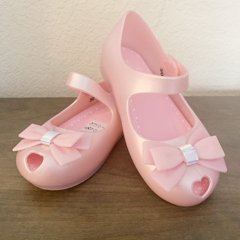 Jelly Shoes - Shimmer Pink with Bow