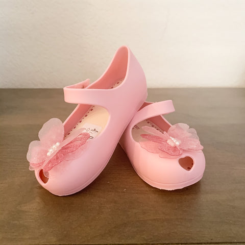 Jelly Shoes - Bubblegum Pink with Glitter Butterfly