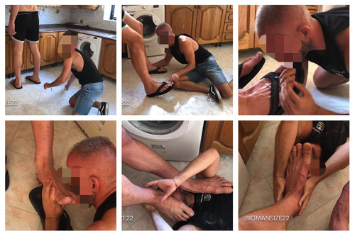 NEW: Slave at Bigman's feet in the kitchen. Part 1