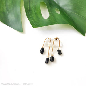 "High Vibe Sentiments, Black Tourmaline ""Phases"" Dangles"