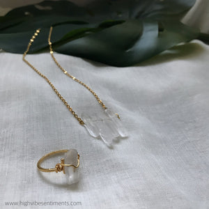 High Vibe Sentiments, 1111 necklace + Wire Wrapped Crystal Ring