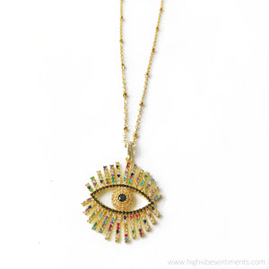High Vibe Sentiments Evil Eye Necklace