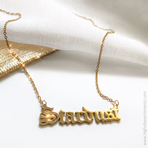 High Vibe Sentiments Stardust Nameplate Necklace