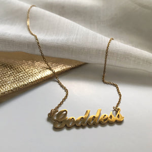 High Vibe Sentiments Goddess Nameplate Necklace