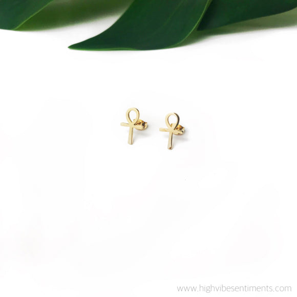 High Vibe Sentiments Ankh Studs