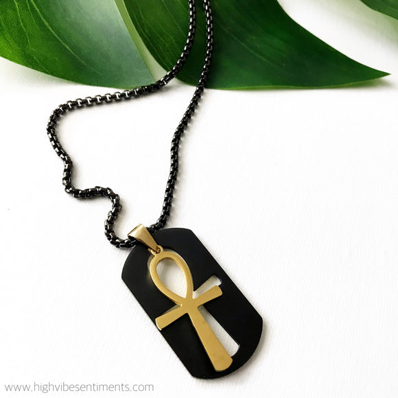 High Vibe Sentiments, Double Ankh Necklace