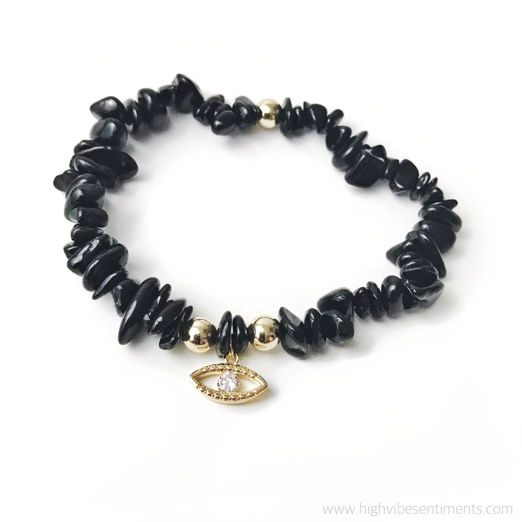 High Vibe Sentiments, Black Tourmaline + Evil Eye Charm Bracelet