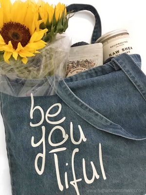 High Vibe Sentiments Denim Affirmation Tote