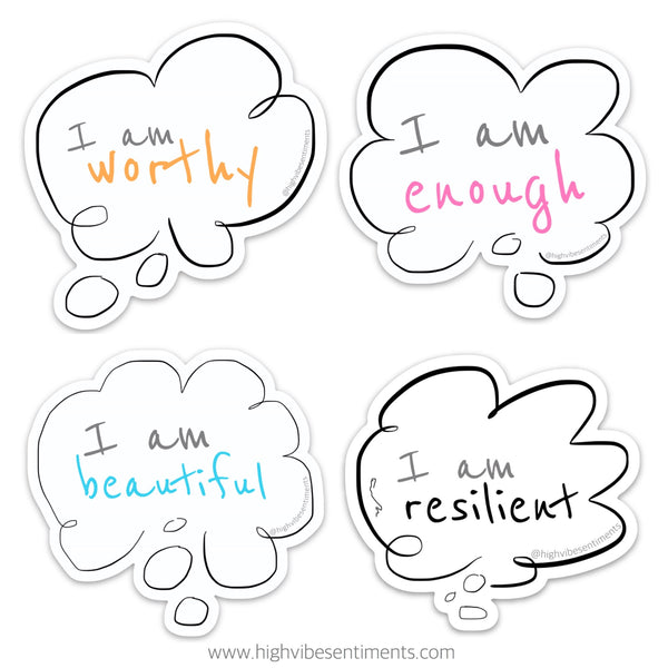 High Vibe Sentiments, Positive Self Talk Stickers Set