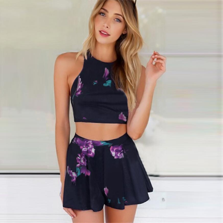Two Piece Floral Beach Dress