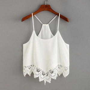 Chiffon Hollow Out Laced Cami Top
