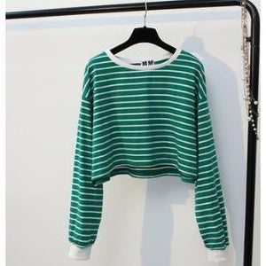 Autumn Striped Crop Pullover